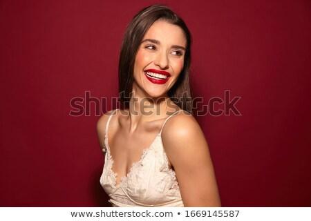 Foto elegante europese vrouw lang donker haar Stockfoto © deandrobot
