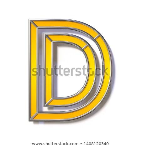 Narancs fém drót betűtípus d betű 3D Stock fotó © djmilic