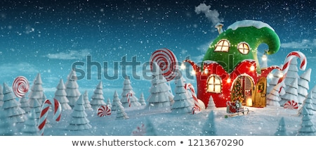 Christmas candy cane decoration on door Stock photo © adrenalina