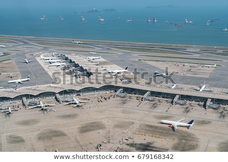 Aerial View - Airport Terminal And Arrivals And Departures Airpl Stock photo © solarseven