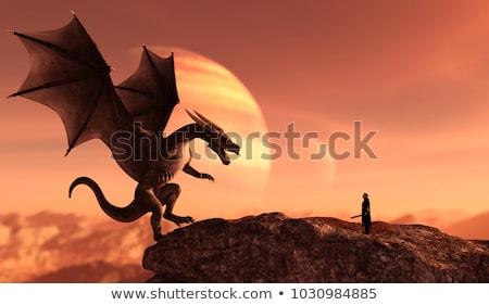 Dragon chevalier illustration lac épée soldat Photo stock © colematt