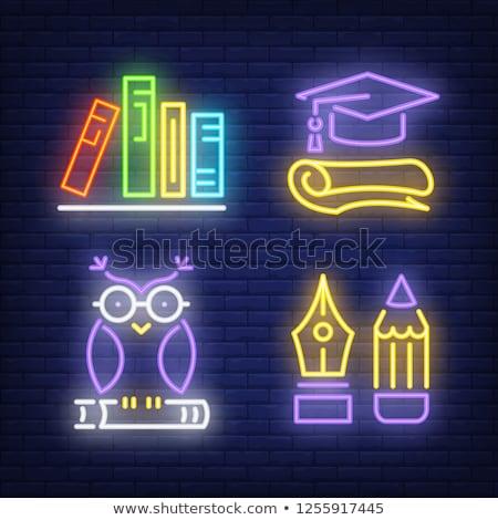 Diploma neón etiqueta educación promoción diseno Foto stock © Anna_leni