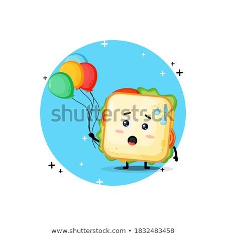 Cartoon гамбургер подпись шаре черно белые иллюстрация Сток-фото © bennerdesign