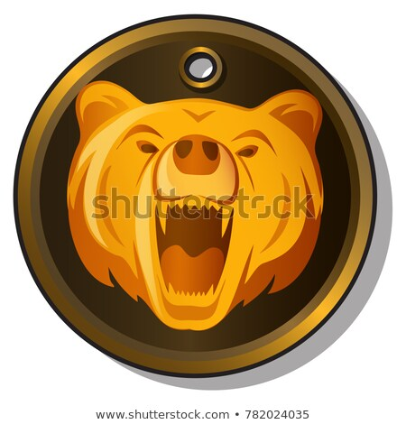 Round metal pendant with the engraved image of the muzzle of a growling bear isolated on white backg Stock photo © Lady-Luck