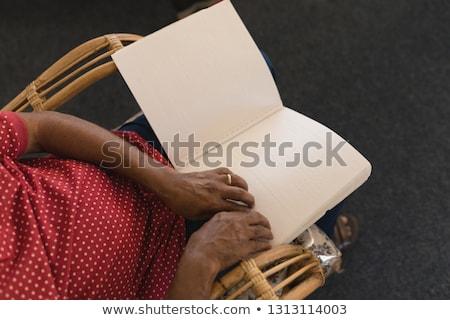 старший · человека · чтение · книга · портрет · гостиной - Сток-фото © wavebreak_media