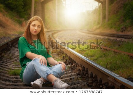young child posing at the railroad Stock photo © Lopolo