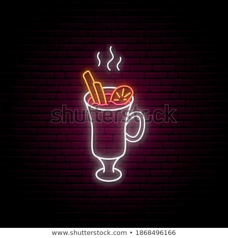 merry christmas with warm mug neon sign stock photo © voysla