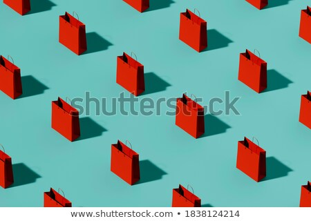 Paper bags green and red in a row 3D Stock photo © djmilic