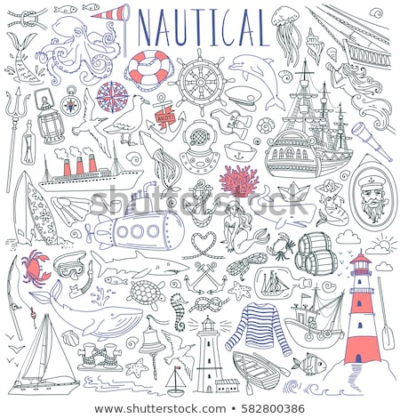 Schip icon vector schets illustratie teken Stockfoto © pikepicture