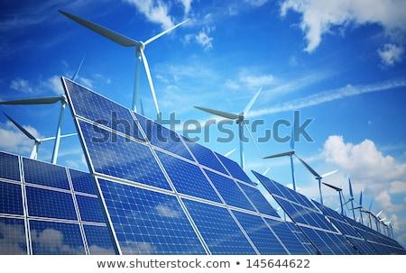 ソーラーパネル 風力タービン 金属 業界 ケーブル ストックフォト © elxeneize