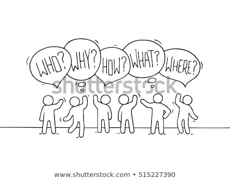 Who, why, what, where and when words with person Stock photo © Ansonstock
