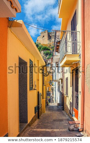 a pedestrian in a narrow medieval street stock photo © dutourdumonde