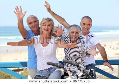 örömteli · pár · biciklik · nő · egészség · hegy - stock fotó © photography33