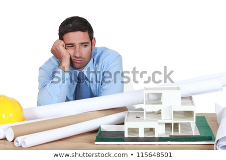 bored architect sat at desk stock photo © photography33