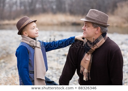 grandfather with grandson in autumn wood stock photo © paha_l