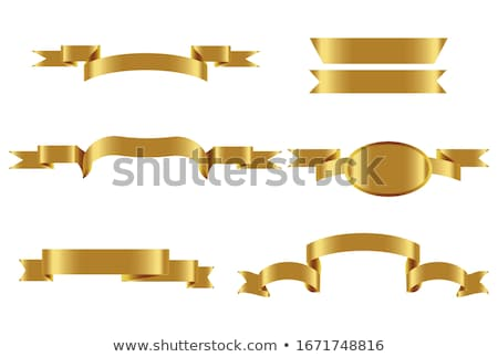Gold Label With Ribbons Set And Text Stock photo © adamson