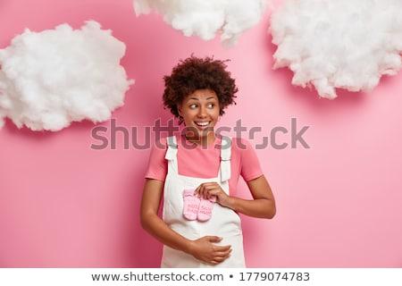 portré · terhes · nő · ruha · fehér · baba · boldog - stock fotó © stockyimages