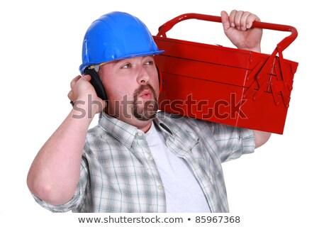 Handwerker tragen Kopfhörer tragen Werkzeugkasten Bau Stock foto © photography33