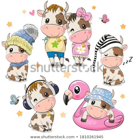 cartoon · grappig · koe · illustratie · gelukkig · zuivelfabriek - stockfoto © benchart
