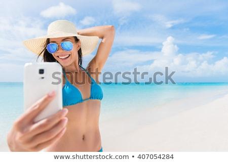 Donna blu costume da bagno corpo spiaggia ragazza Foto d'archivio © ssuaphoto