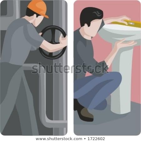 Segédmunkás megjavít mosdókagyló víz boldog kék Stock fotó © photography33