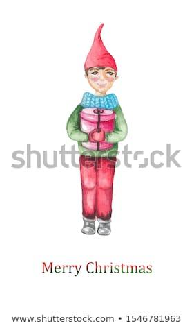 santa gnom and snow man illustration stock photo © shutswis