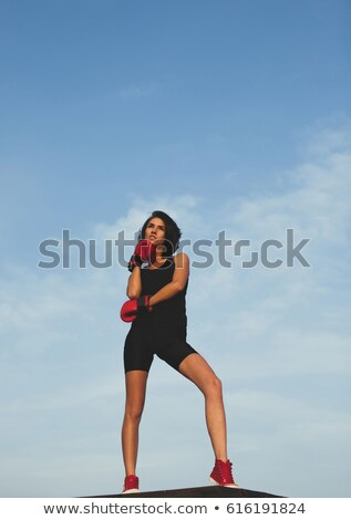Stockfoto: Sporty Female With Boxing Gloves On Against A White Background