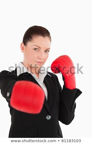 肖像 かわいい 女性 ボクシンググローブ 白 スポーツ ストックフォト © wavebreak_media