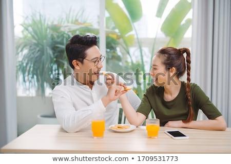 Nő férfi eszik gyönyörű nő jóképű férfi kínai Stock fotó © piedmontphoto