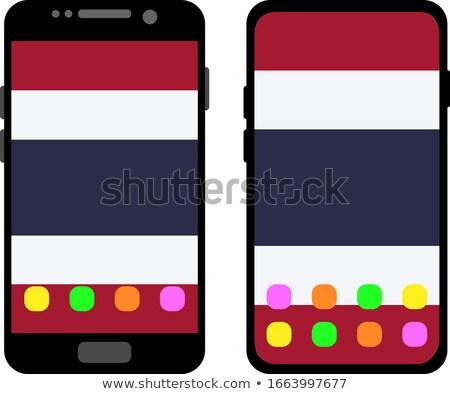 Thaiföld · zászló · web · design · stílus · térkép · gomb - stock fotó © lirch