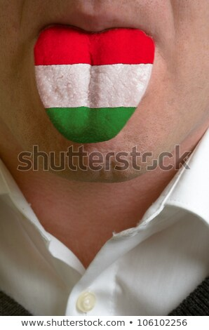 man tongue painted in hungary flag symbolizing to knowledge to s stock photo © vepar5