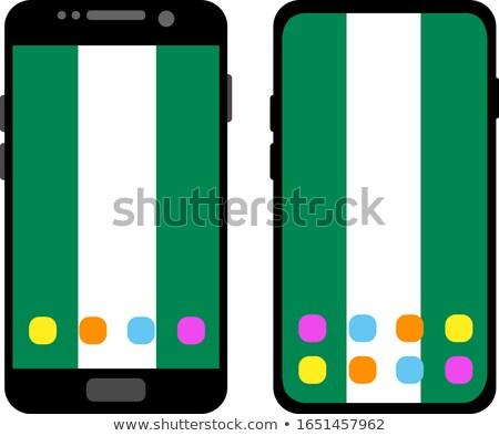 placu · banderą · ikona · Nigeria · odizolowany · biały - zdjęcia stock © lirch