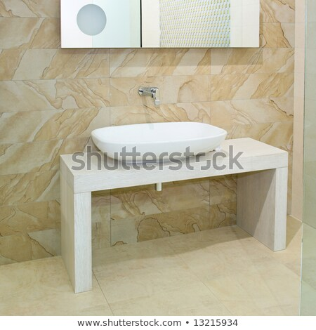 Wide oval basin and marble ceramics in bathroom  Stock photo © tarczas