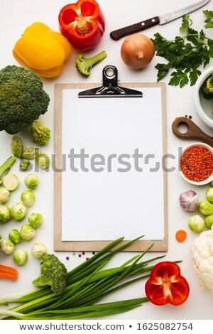 warzyw · notebooka · starych · papieru · żywności - zdjęcia stock © m-studio