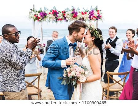 Foto d'archivio: Cerimonia · di · nozze · bella · giardino · fiori · party · sedia