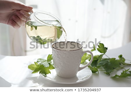чай фон таблице листьев завтрак горячей Сток-фото © yelenayemchuk
