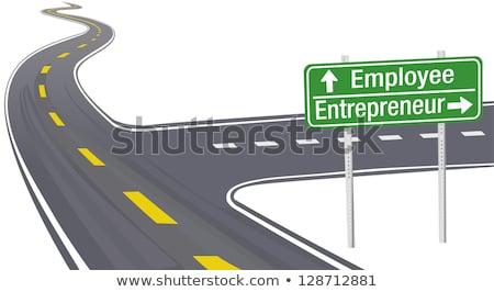 Startup autostrady kierunkowskaz niebo drogowego tle Zdjęcia stock © tashatuvango