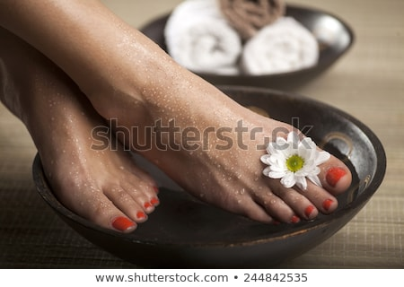legs and feet and red nails of a woman Stock photo © Giulio_Fornasar