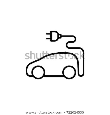 Voiture électrique icône illustration bleu carré design Photo stock © nickylarson974