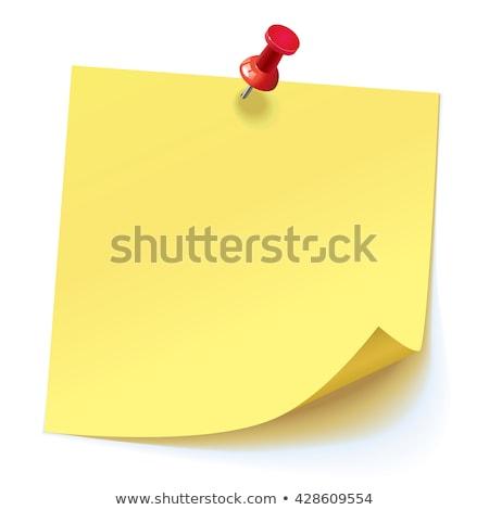 Lökés citromsárga levélpapír fehér iroda jegyzet Stock fotó © dezign56