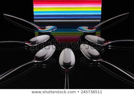 Tizenkettő fekete üveg asztal papír étel Stock fotó © CaptureLight