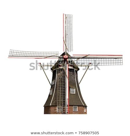 Nederlands windmolen weinig dorp landschap Stockfoto © ivonnewierink