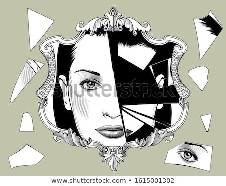 Mulher espelho quebrado beleza jovem Foto stock © alexandrenunes