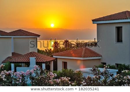 garfo · pôr · do · sol · mediterrânico · céu · verão · azul - foto stock © mahout