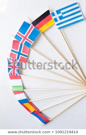 Rosja Etiopia miniatura flagi odizolowany biały Zdjęcia stock © tashatuvango