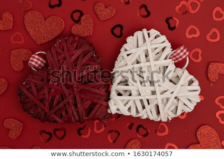 Braided heart on a white wooden background Stock photo © Zerbor