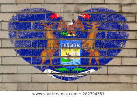 heart shape flag of michigan on brick wall Stock photo © vepar5