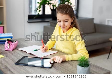 Tabletta izolált fehér levél háttér tanulás Stock fotó © cherezoff