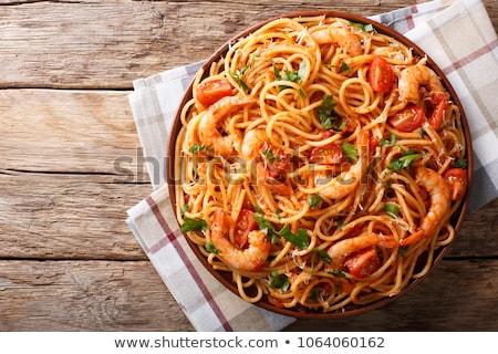 Tészta spagetti tészta chilipaprika fa asztal űr Stock fotó © Valeriy