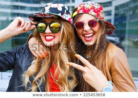 Portret twee mooie dames vrouwen Stockfoto © majdansky